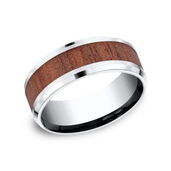 Cobalt and Rosewood Comfort-Fit Design Wedding Band