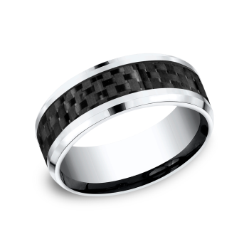 Cobalt and Carbon Fiber Comfort-Fit Design Wedding Band