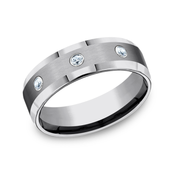 Tungsten Comfort-Fit Design Diamond Wedding Band