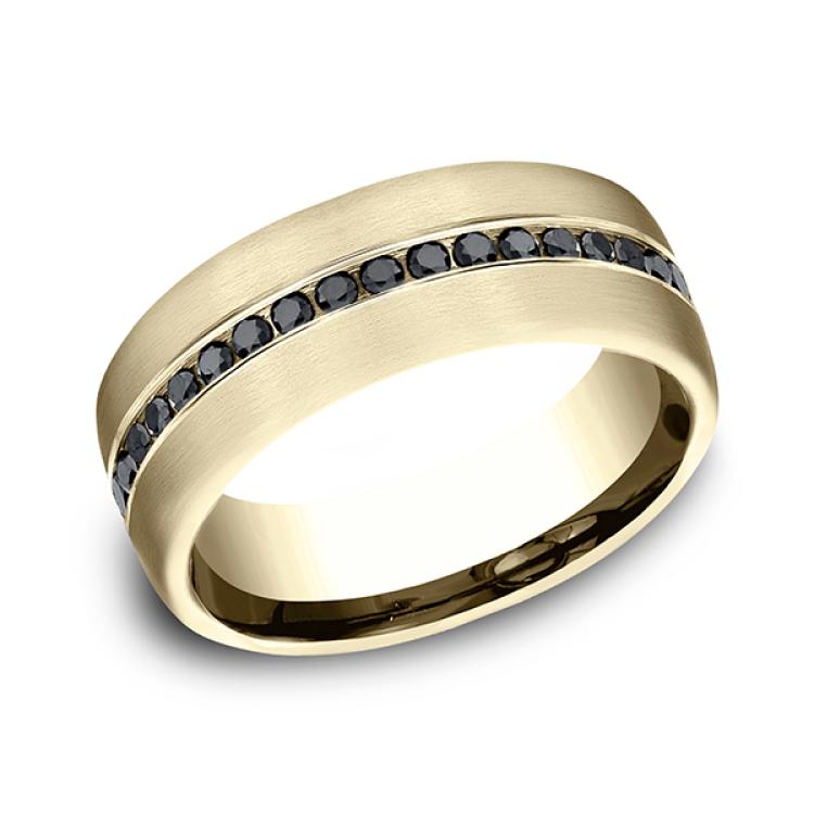 Comfort-Fit Black Diamond Wedding Ring