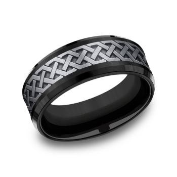 Grey Tantalum and Black Titanium two-tone Comfort-fit wedding band