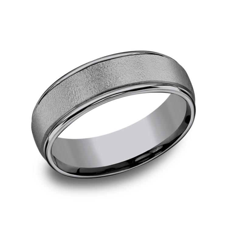 Grey Tantalum Comfort-fit wedding band
