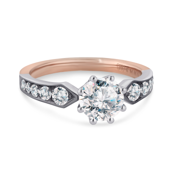 14K Two-Tone with Rose Gold and White Gold Engagement Ring