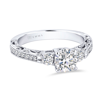 0.47ct, 14K White Gold Semi-Mount Ring