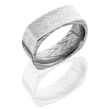Zebra Patterned Damascus Steel 8mm Flat, Square Band