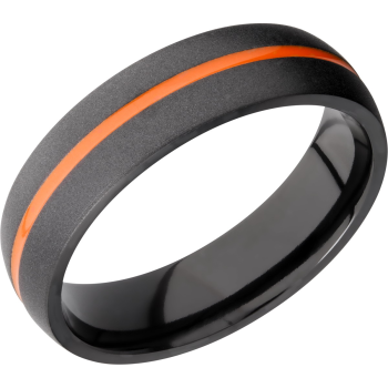 Zirconium 6mm domed band featuring orange Cerakote in groove