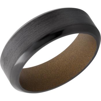 Zirconium 8mm high beveled band