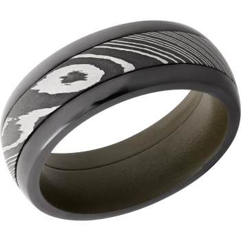 Zirconium 8mm domed band featuring Damascus Steel inlay and green Cerakote sleeve