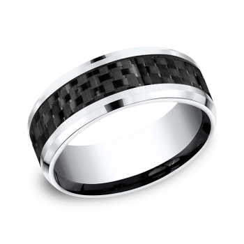 Cobalt And Carbon Fiber Comfort-Fit Design Wedding Band