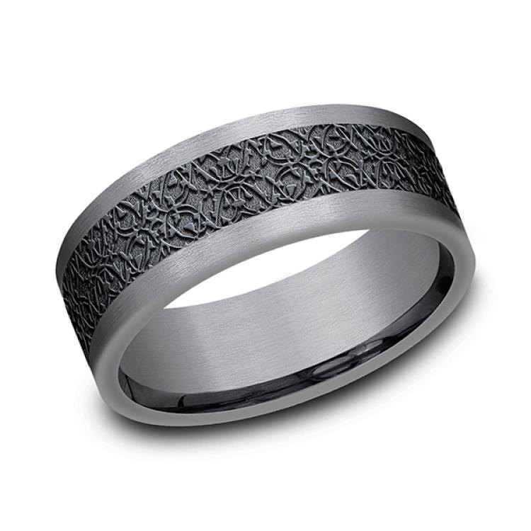 Tantalum and Black Titanium Comfort-fit Design Wedding Band