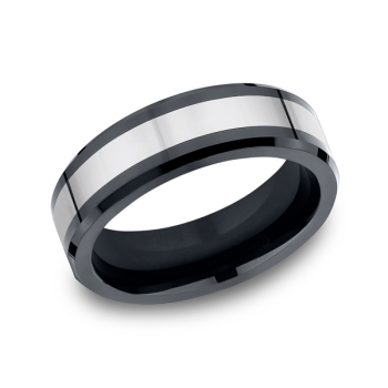 Tungsten and Seranite Two-Tone Comfort-Fit Wedding Band