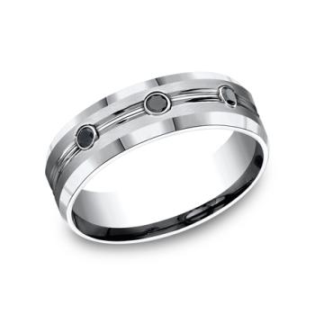 Cobalt Comfort-Fit Black Diamond Wedding Ring