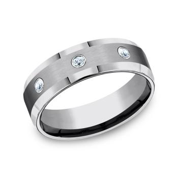 Tungsten Comfort-Fit Design Diamond Wedding Band