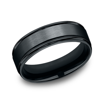 Black Cobalt Chrome Comfort-Fit Design Wedding Band