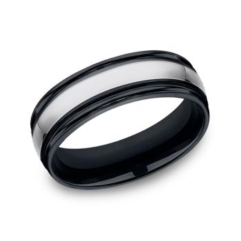 Tungsten and Seranite Comfort-Fit Design Wedding Band