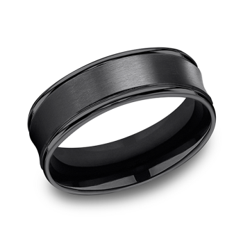 Black Titanium Comfort-Fit Design Wedding Band