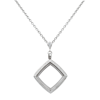 Square White Topaz Locket With Chain