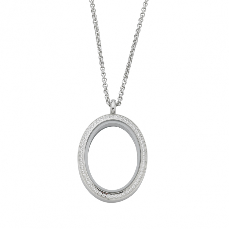 Oval White Topaz Locket With Chain
