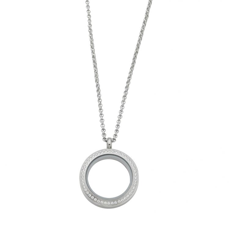 Round White Topaz Locket With Chain