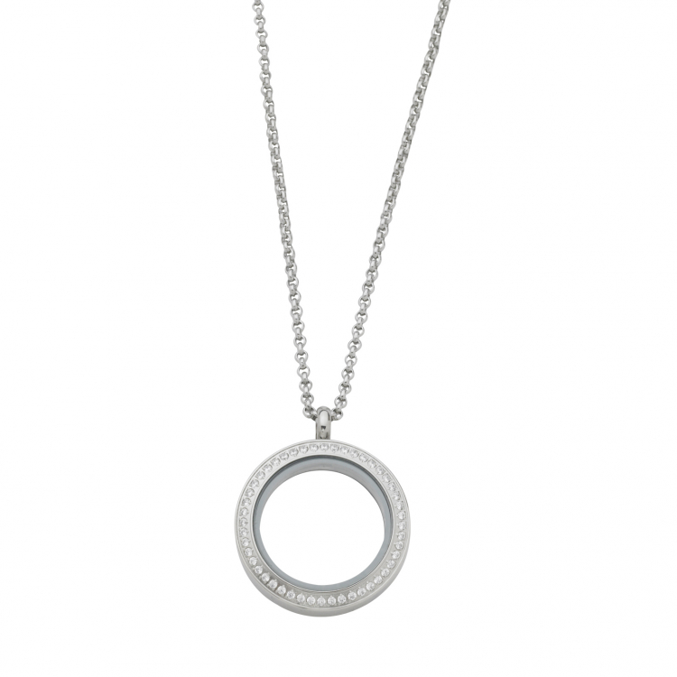 Round White Topaz Locket With Chain