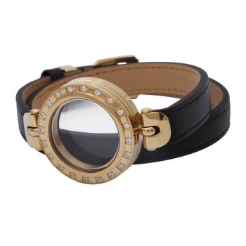 Double Wrap Round Locket Bracelet