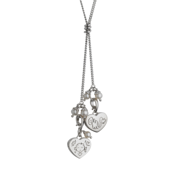 Mom and Girl Heart Pendant