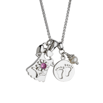 Baby Feet With Blossom Girl Pendant