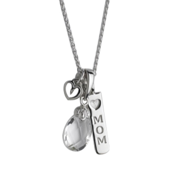 Mom with White Topaz Briolette Pendant
