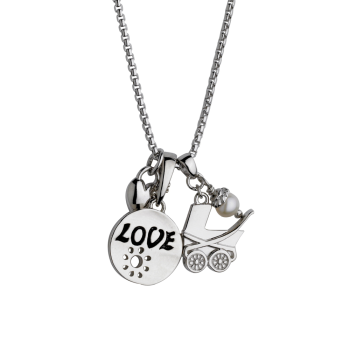 Baby Carriage with Love Pendant