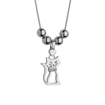 Cat Birth Gem Silhouette Pendant