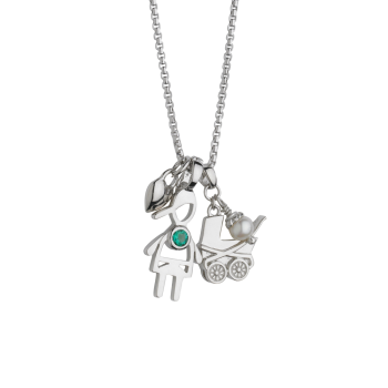 Baby Carriage with silhouette Birth Gem Boy Pendant