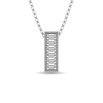 10K White Gold Bar Necklaces / Pendants