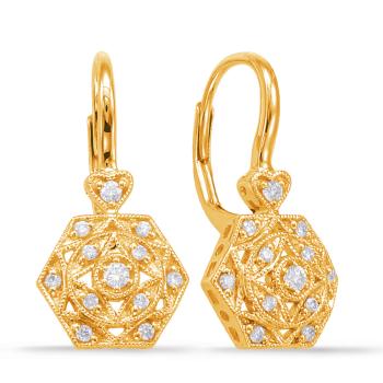 Yellow Gold Diamond Earring