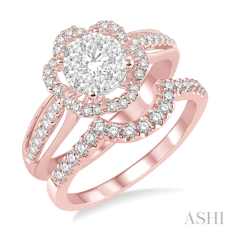 FLOWER SHAPE LOVEBRIGHT DIAMOND WEDDING SET