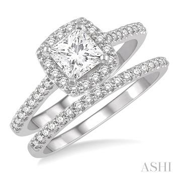 PRINCESS SHAPE DIAMOND WEDDING SET