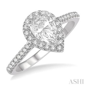 PEAR SHAPE SEMI-MOUNT DIAMOND RING