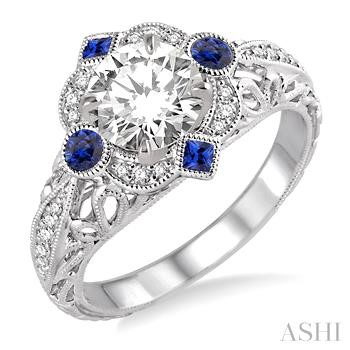 GEMSTONE & DIAMOND SEMI-MOUNT RING