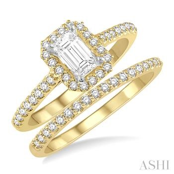 OCTAGON SHAPE DIAMOND WEDDING SET