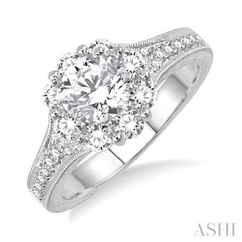 FLOWER SHAPE DIAMOND ENGAGEMENT RING