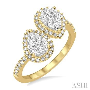 LOVEBRIGHT 2STONE PEAR SHAPE DIAMOND RING