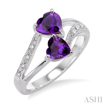 HEART GEMSTONE & DIAMOND RING
