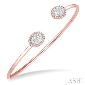 OVAL SHAPE LOVEBRIGHT CUFF OPEN DIAMOND BANGLE