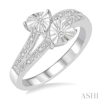 SILVER 2STONE HEART DIAMOND RING