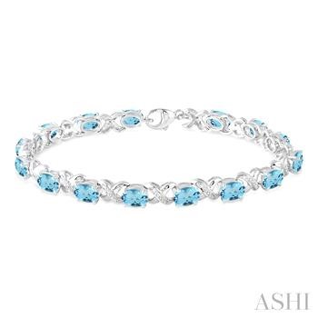 OVAL SHAPE SILVER GEMSTONE & DIAMOND BRACELET
