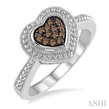 SILVER HEART CHAMPAGNE DIAMOND RING
