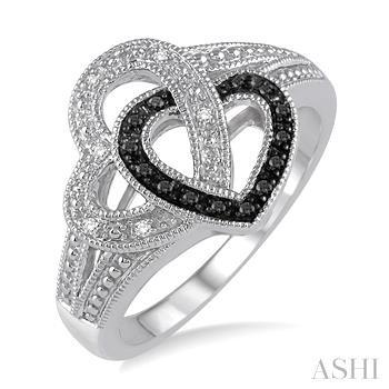 SILVER HEART DIAMOND RING