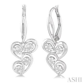 SILVER TWICE HEART DIAMOND EARRINGS