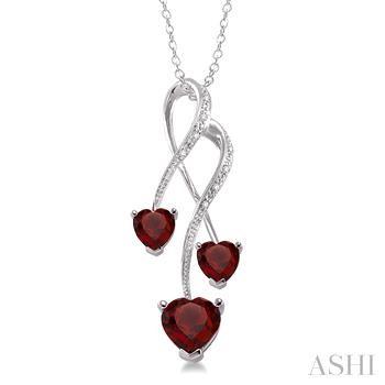 TRIPLE HEART SILVER GEMSTONE & DIAMOND PENDANT