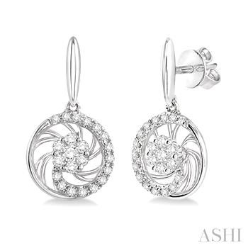 FLOWER SHAPE DIAMOND EARRINGS