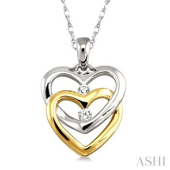TWIN HEART 2STONE DIAMOND PENDANT